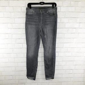 Joe's Jeans Gray Skinny Raw Hem Lacey Jeans, 30